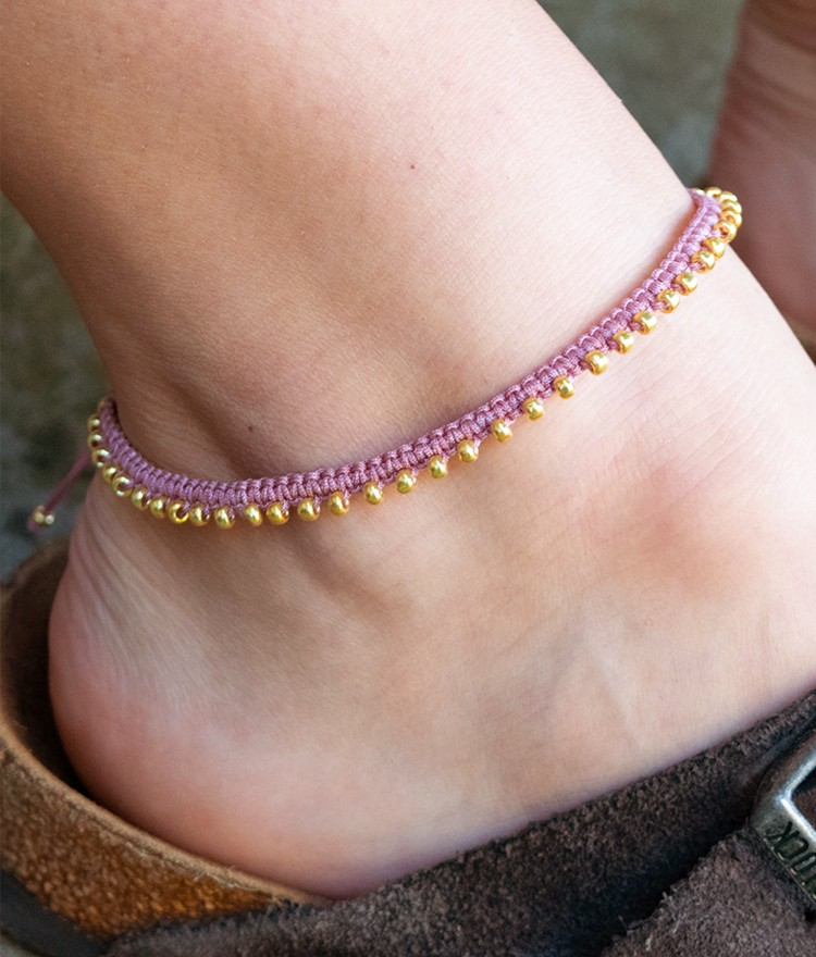 DIY Macramé Anklet Tutorial with Beads