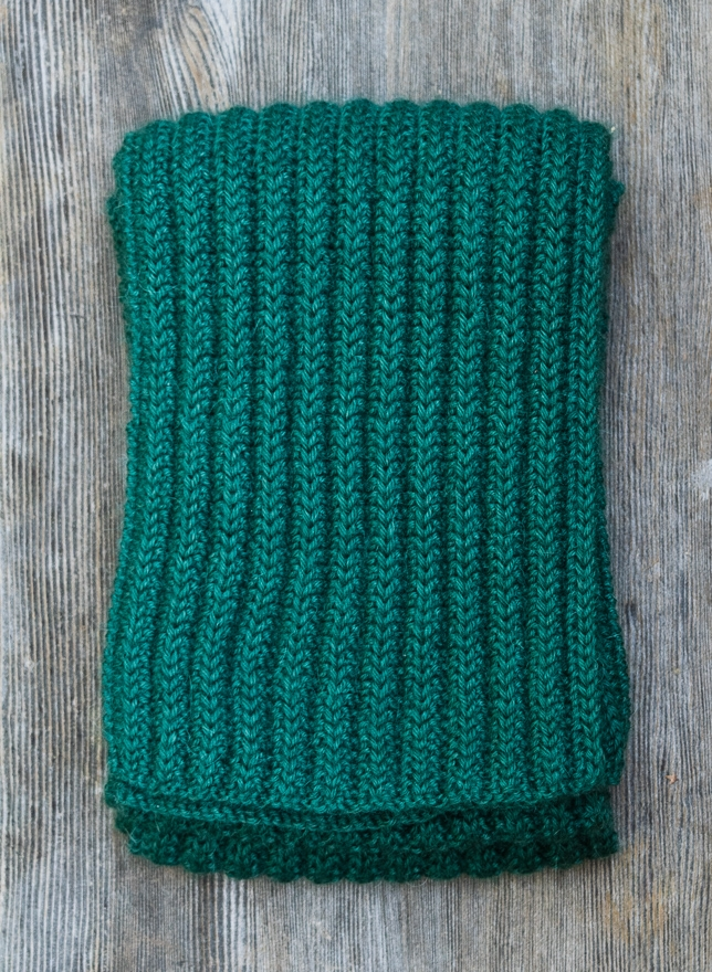 Knit scarf pattern creates a raised rib pattern with no purling.
