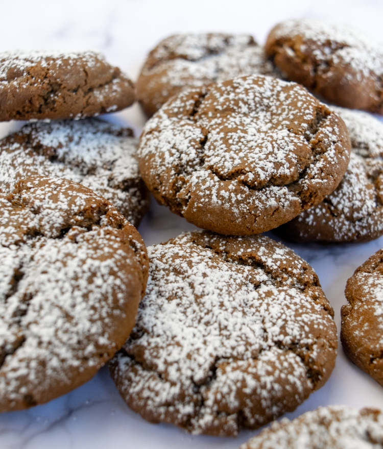 Molasses cookies with powdered sugar ready to serve