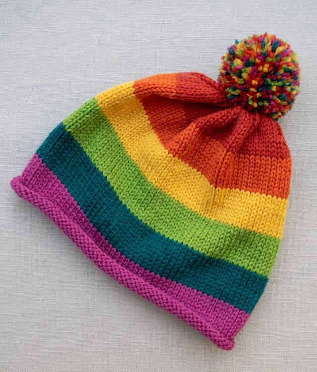 Rainbow Hat Knitting Pattern with Pompom