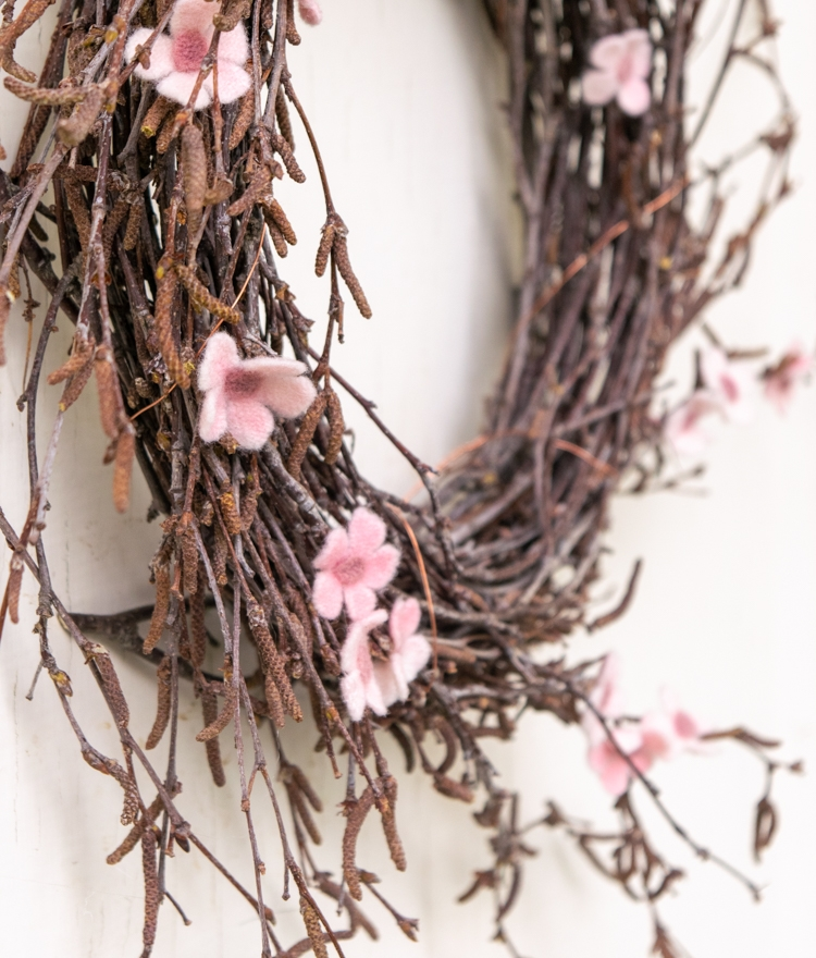 DIY Spring Wreath Birch Branches Closeup of Felt Flowers