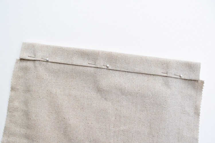 Fold fabric down to marks