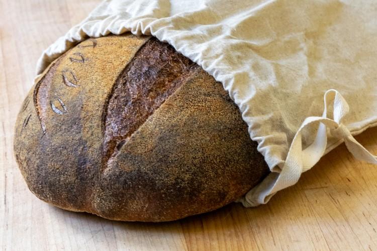 Sourdough bread in waxed bread bag