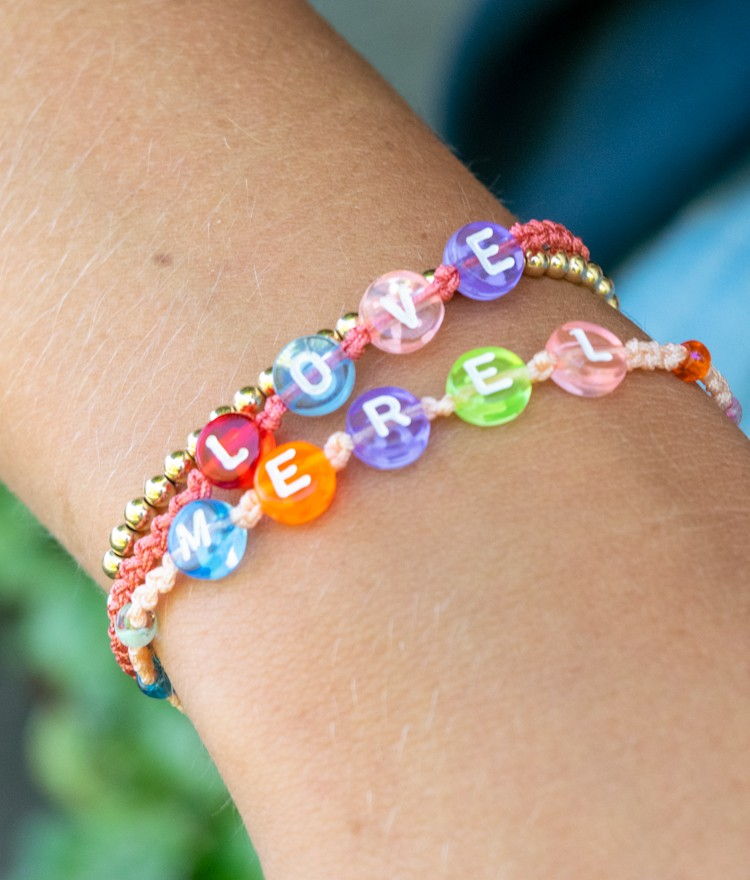 Friendship Bracelets with letter beads spelling words and names