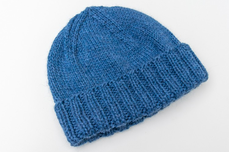 the finished knit hat cuffed beanie