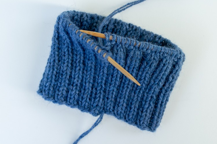 four inches of ribbing in the knit hat pattern