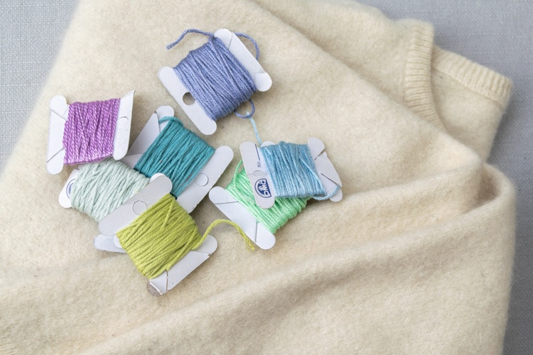 Felted Sweater and embroidery floss for making your fingerless gloves