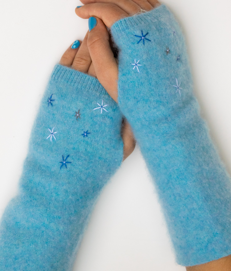 Make fingerless gloves from felted sweater sleeves