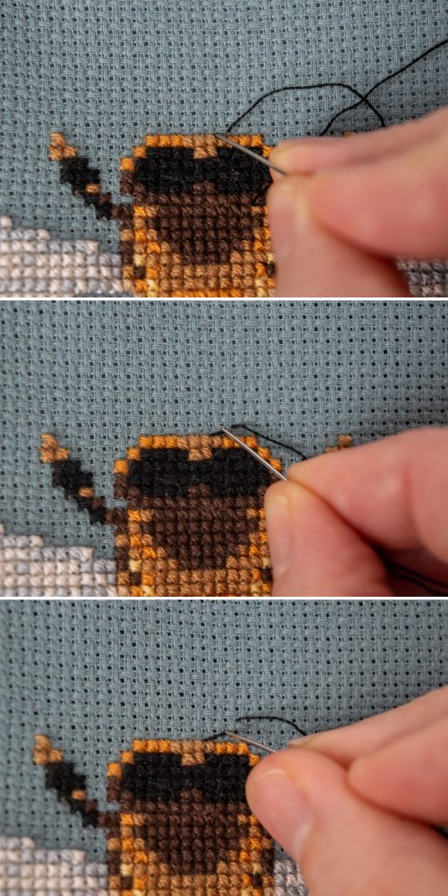 Beginner Cross Stitch how to sew backstitch