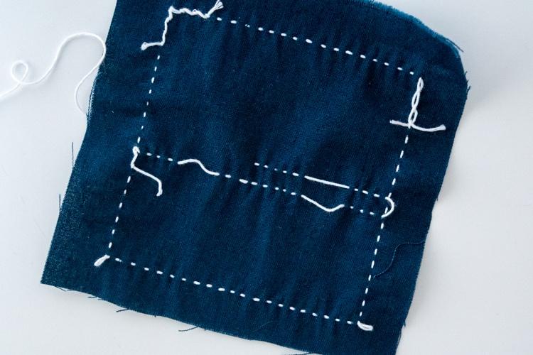 sashiko stitching leave slack on the back when you jump or turn corners