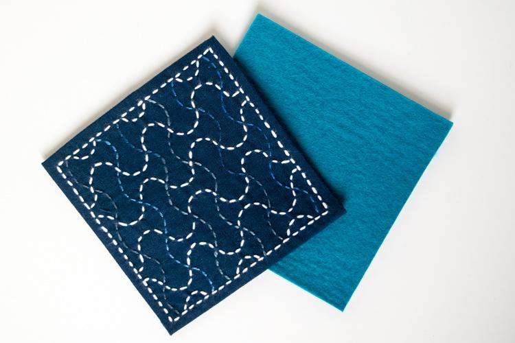sashiko stitching cut felt to same size as stitched fabric