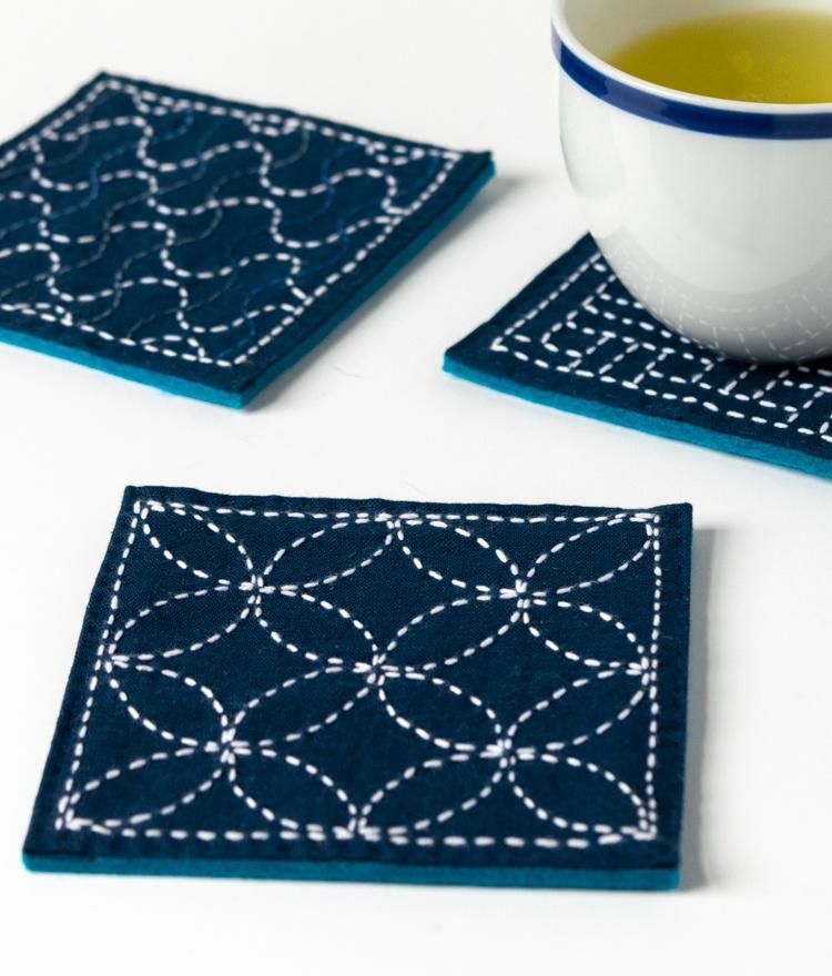sashiko stitching japanese embroidery project with free pattern