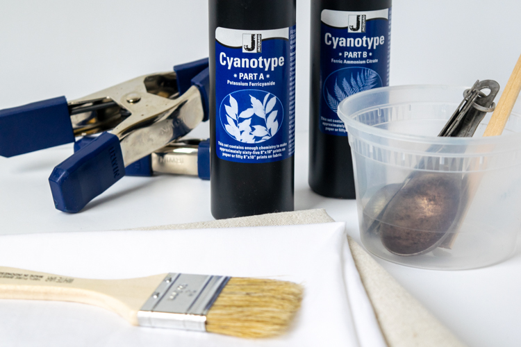 Supplies for Cyanotypes on Fabric